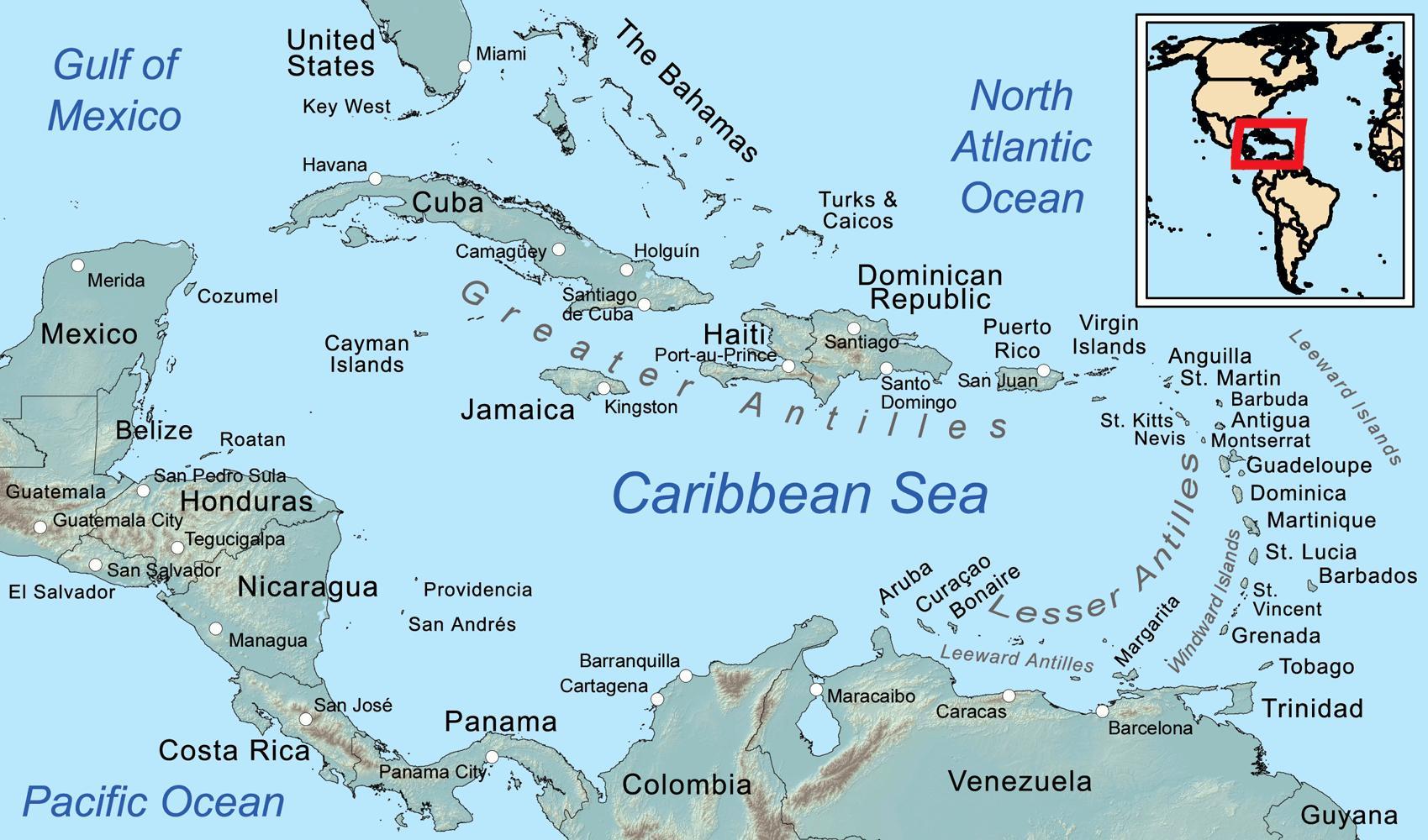 Jamaikan Saaren Kartta Kartta Jamaika Ja Ymparoiville Saarille